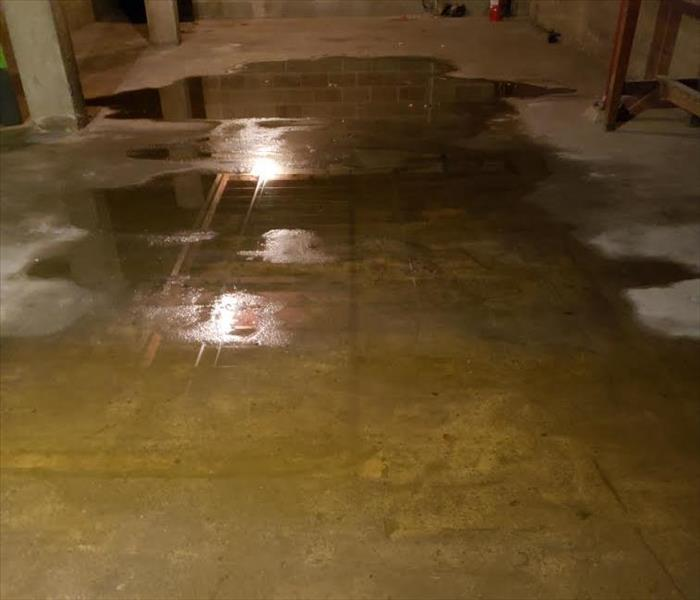 Water in basement of commercial bank