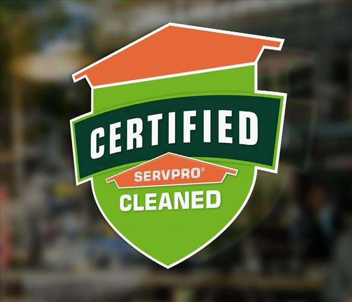 Certified: SERVPRO Cleaned sticker on commercial business window