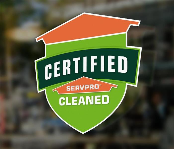 Window decal of Certified SERVPRO Cleaned